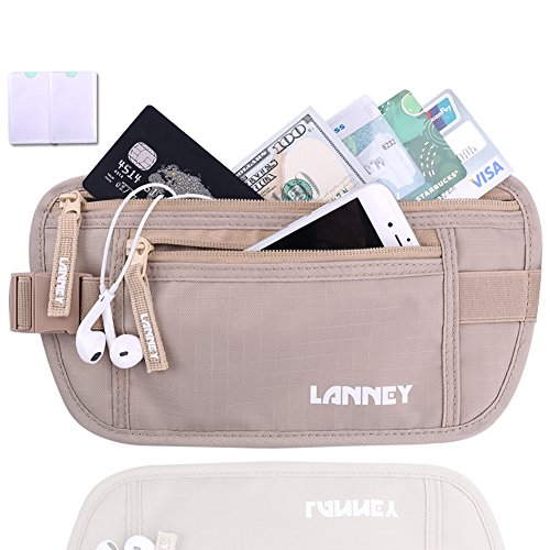 Travel Money Belt Waist Wallet RFID Blocking, Anti-Theft Passport Holder, Hidden Waist Stash for Men Women, Khaki (2 Credit Card RFID Blocking Sleeves Bonus)