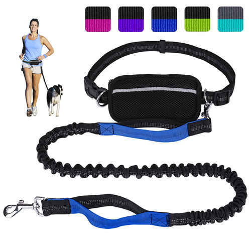 Hands Free Dog Leash for Running Walking Training Hiking, Dual-Handle Shock Absorbing Reflective Bungee, Adjustable Waist Belt and Pouch, Ideal for Medium to Large Dogs (Black / Blue)