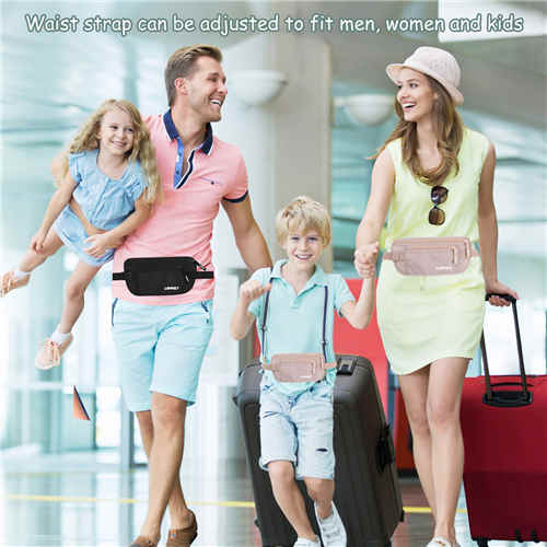 Travel Money Belt for Men Women, RFID Blocking Concealed Waist Wallet Pouch Under Clothes Passport Holder Antitheft Waist Stash Bag for Travelling, Bonus 10 RFID Credit Card Sleeves, Beige