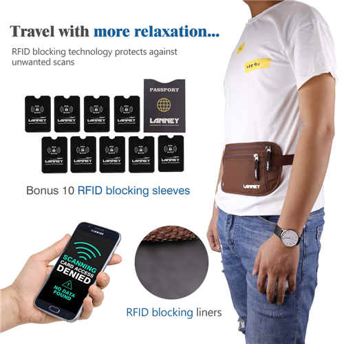 Travel Money Belt for Men Women Waist Wallet with 10 RFID Blocking Sleeves Set